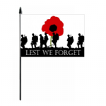 Lest We Forget Army Hand Flag - Medium.